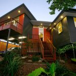Kyogle steel house - entry at dusk