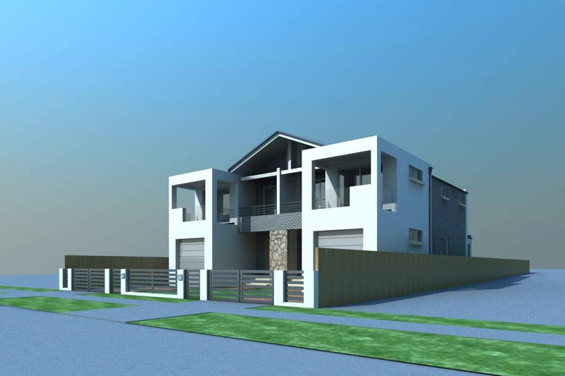 Large family duplex Canley Vale - street view corner - model