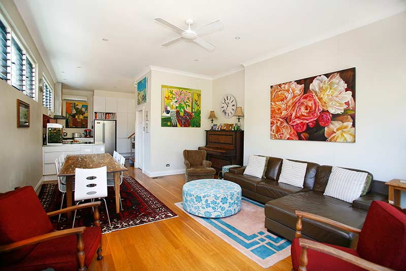 Vibrant Clovelly semi - living room dining room