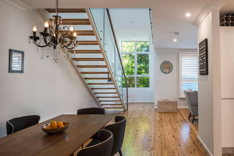 Coogee corner house - dining and stairs