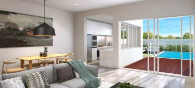 Duplex home with swimming pool designed for the entertainer has begun construction – Chifley