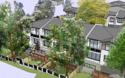 Overland watercourse is transformed into a leafy water feature for luxury Gymea townhouses