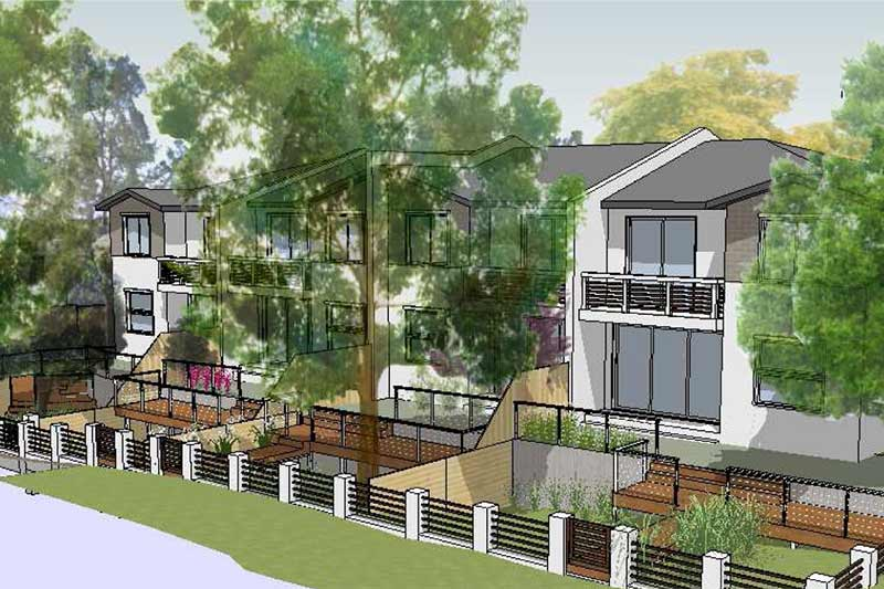 Leafy creekside large family townhouses - looking south-east - architects gymea sutherland townhouses development