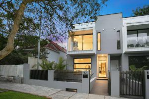 Bronte Beach duplex with spacious attics - street view at dusk