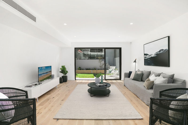 Bronte Beach semis with spacious attics - living looking out