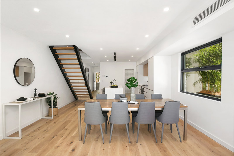 Bronte Beach semis with spacious attics - dining, stairway and hall