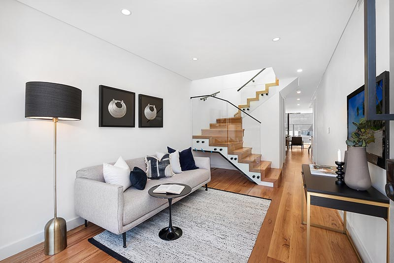 Rose Bay corner duplex - living and stair