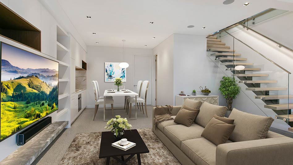 Grand waterview apartments Mosman - living dining stairway