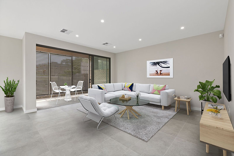 Leafy creekside large family townhouses Gymea - living room