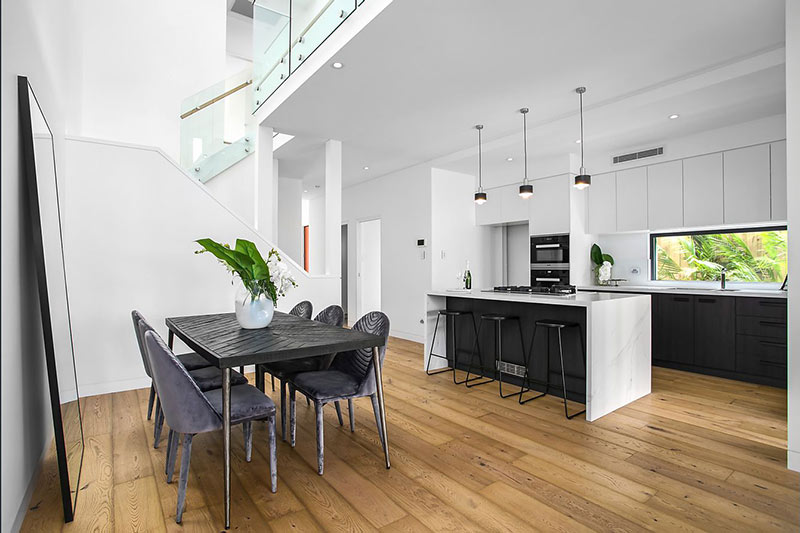 Northern lights Maroubra duplex - natural light with skylight to dining and window facing kitchen
